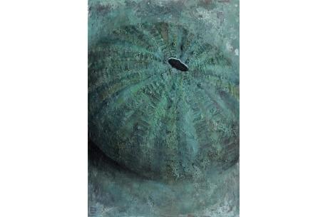 """erizo mar """"Azul casi verde"""" óleo"""