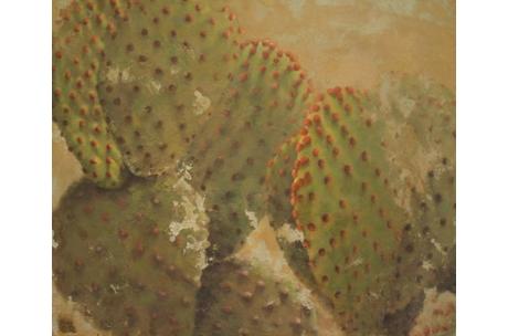 naturaleza cactus orejas de conejo óleo